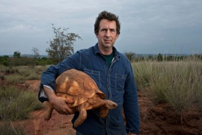 "Eric Goode, creater of ""Tiger King"" and founder of the Ojai-based Turtle Conservancy, with a plowshare tortoise"