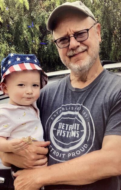 Franz Lidz with his grandson Cloudy.